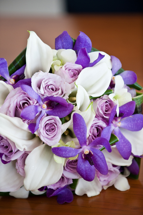 Bouquet of White Callas, Purple Vandas and Mauve Roses