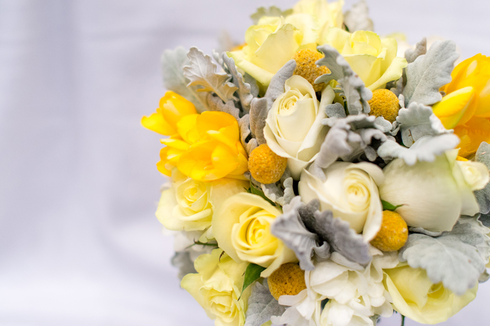 Bouquet of Yellows, Billy Buttons and Dusty Miller