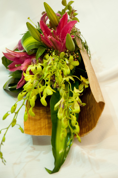 EYA 06 Palm Husk Centrepiece with Pink Lillies