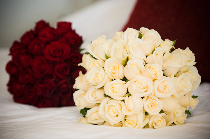 White Rose Bouquet and Red Rose Bouquet